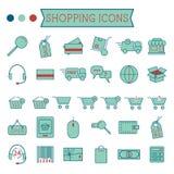 Uppsättning av on-line shoppingsymboler som isoleras på vit stock illustrationer
