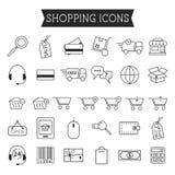 Uppsättning av on-line shoppingsymboler som isoleras på vit royaltyfri illustrationer