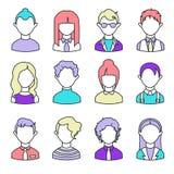Uppsättning av linjära avatars enkla symboler också vektor för coreldrawillustration royaltyfri illustrationer