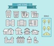 Uppsättning av linjära hus- och byggnadssymboler royaltyfri illustrationer