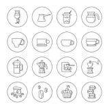 Uppsättning av 16 linjära kaffesymboler i de inklusive kaffekopparna för cirklar, kaffemaskin, makron Isolerat på viten Fotografering för Bildbyråer