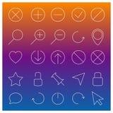 Uppsättning av linjära rengöringsduksymboler, vektorillustration Arkivbild