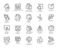 Uppsättning av 20 linjära symboler som isoleras på marknadsförings-, kommers- och affärstema Grafisk konturlogo eller knapp vektor illustrationer