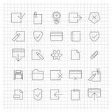 Uppsättning av linjära universella symboler, vektorillustration Royaltyfri Foto