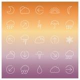 Uppsättning av linjära vädersymboler, vektorillustration Royaltyfri Foto