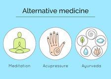 Uppsättning av linjära vektorsymboler med typer av alternativ medicin stock illustrationer