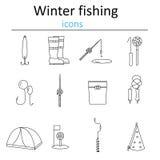 Uppsättning av linjärt fiske för rengöringsduksymbolsvinter Tillbehör för att fiska på isen arkivfoto