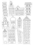 Uppsättning av linjen Art No Fill för illustrationer för klotterstadsbyggnader Royaltyfria Foton
