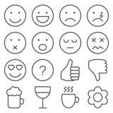 Uppsättning av linjen emoticons Arkivfoto