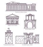 Uppsättning av linjen isolerade grekiska sightgränsmärken stock illustrationer
