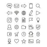 Uppsättning av linjen konstsymboler för mobiltelefon- eller websitemanöverenhet royaltyfri illustrationer