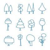 Uppsättning av linjen konsttecknad filmträd, hand dragen skog, klottervektor Isolerat på vit För färgning vektor illustrationer