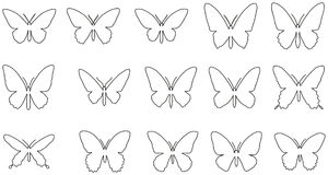 Uppsättning av linjen konturer av fjärilar Royaltyfri Illustrationer