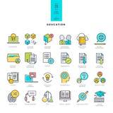 Uppsättning av linjen moderna färgsymboler på temat av utbildning stock illustrationer
