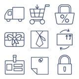 Uppsättning av linjen symboler för att shoppa, e-kommers stock illustrationer