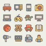 Uppsättning av linjen symboler för e-kommers Arkivbilder