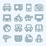 Uppsättning av linjen symboler för e-kommers Royaltyfri Bild