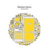 Uppsättning av linjen symboler som presenterar olik köksgeråd och lagar mat släkta objekt Arkivbild