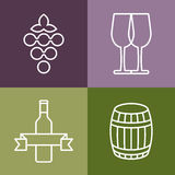 Uppsättning av linjen symbolsuppsättning Logo för vektor för vinflaska, druva- och exponeringsglas royaltyfri illustrationer