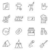 Uppsättning av linjen vektorsymboler för musikfestival royaltyfri illustrationer