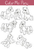 Uppsättning av liten gullig ponny sju Arkivfoto