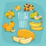 Uppsättning av livsmedelsproduktgulingfrukter Arkivfoto