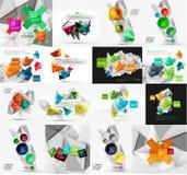 Uppsättning av ljus, pappers- infographic designalternativ Arkivbilder