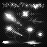 Uppsättning av ljusa effekter, strålkastare, exponering, stjärnor och vektor illustrationer