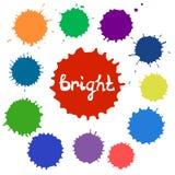 Uppsättning av ljusa färgfläckar Stock Illustrationer