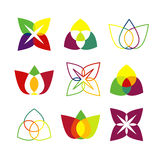 Uppsättning av ljusa geometriska logoer Arkivbild