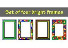 Uppsättning av 4 ljusa ramar stock illustrationer