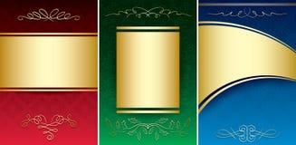 Uppsättning av ljusa tappningbakgrunder med den guld- prydnaden Royaltyfria Bilder