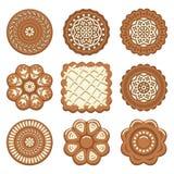Uppsättning av ljusbruna chipkakor av olika former vektor illustrationer