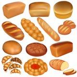 Uppsättning av loaves av bröd och en vit Arkivbilder