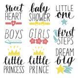 Uppsättning av logoen för 9 barn med den lilla prinsen för handskrift, prinsessa, pojkar, flickor, älskling, baby shower första s vektor illustrationer