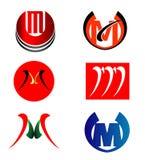 Uppsättning av logoen för bokstav M Royaltyfri Foto