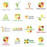 Uppsättning av logoen för fruktföretag, ny fruktsaft- eller coctailstång Fotografering för Bildbyråer