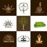 Uppsättning av logoer av yoga och meditationen Arkivbilder