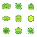Uppsättning av logoer för ecolantgårdar royaltyfria bilder