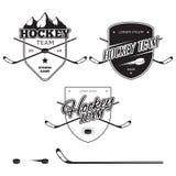 Uppsättning av logoer för ishockeylag, emblem och designbeståndsdelar Arkivbild