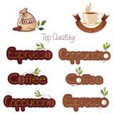 Uppsättning av logoer för kaffe Fotografering för Bildbyråer