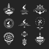 Uppsättning av logoer för yachtklubba Arkivfoto