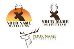 Uppsättning av logoer med hjortillustrationen Fotografering för Bildbyråer