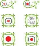 Uppsättning av logoer med två fiskar, bambu och sushi Fotografering för Bildbyråer