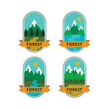 Uppsättning av logoer och emblem, utomhus- aktiviteter royaltyfria foton
