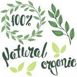 Uppsättning av logoer som märker 100%, naturligt som är organiska Rund ram av l Fotografering för Bildbyråer