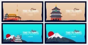 Uppsättning av loppbaner till Kina och Japan tid att löpa Resa, tur och semester Plan illustration för vektor stock illustrationer