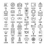 Uppsättning av loppsymboler i den moderna tunna linjen stil Arkivfoton