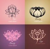 Uppsättning av lotusblommatecknet för brunnsort stock illustrationer