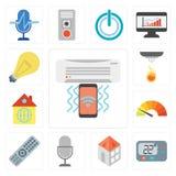 Uppsättning av luftkonditioneringsapparaten, termostat, hem, stämmakontroll, fjärrkontroll, stock illustrationer